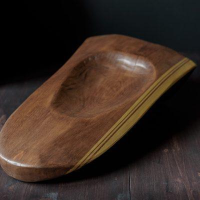 """Cuenco de madera """"Línea dorada"""""""