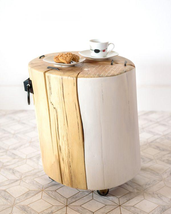 """Mesa auxiliar tronco de madera """"Palabras"""""""